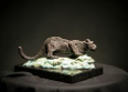 MIM SCALA ~ Snow Leopard - Bronze on black Kilkenny marble - 17 x 26 x 13 cm -edition of 10 #2 - 10 available - from €3800