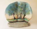DAVID SEEGER - The Ash Trees - ceramic on stone - 34 x 34 cm - €950