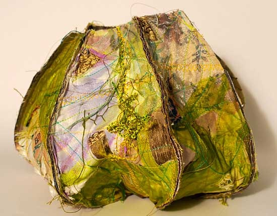 JULIA ZAGAR ~ Pod II from a seried of 5 - manipulated textiles 20 x 20 cm