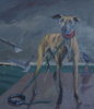 PATRICIA CARR ~ Dog and Seagulls - oil on canvas - 67 x 75 cm - €750