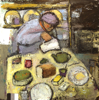 CHRISTINE THERY ~ Tea for Two - oil on canvas - 76 x 76 cm - €3100