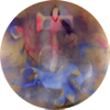 TERRANCE KEENAN ~ #2 Discovering the Footprints - spray enamel on special paper - 90cm diameter - €1700