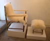 ALISON OSPINA ~ Hazel Armchair and Footstool - with leather strap seatand sheepskin - Chair €650 - stool €250