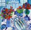 ALYN FENN ~ Anemones & Mackerel - oil on canvas - 100 x 100 cm  - €825