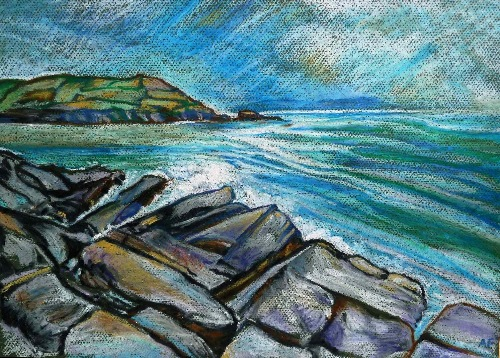 ALYN FENN ~ Seascape I - oil pastel on paper - 30 x 42 cm - €225