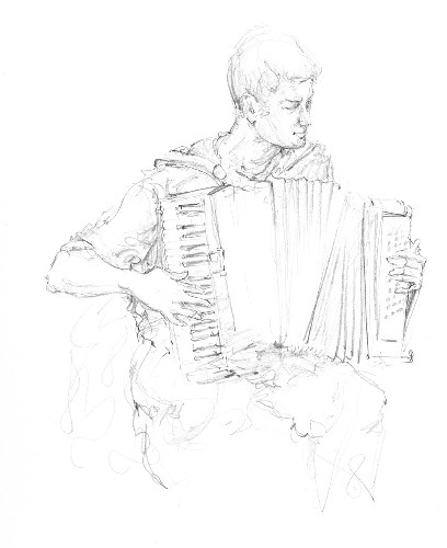 ANN MARTIN ~ Accordian Player  Skeagh, Co.Cork - graphite - 37 x 27 cm - €200
