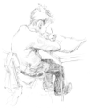 ANN MARTIN ~ Boy at Desk Durrus, Co.Cork - graphite - 40 x 28 cm - €150
