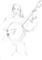 ANN MARTIN ~ Girl with Banjo Skeagh, Co.Cork - graphite - 28.5 x 21 cm - €200