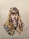 ANN MARTIN - Golden Hair Study - watercolour - €500 - SOLD