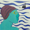 AYELET LALOR - Bather with Purple Hat - silk screen - edition 1/2 - 50 x 50 cm - unframed €150