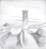 BRIAN LALOR - Rock Island West Tower - conte - 35 x 35 cm - €300