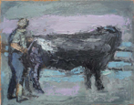 CHRISTINE THERY - Bull Washing - oil on canvas - 20 x 25 cm - €410
