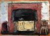 CHRISTINE THERY ~ A Chair by the Fire - oil on canvas - 28 x 35 cm - €480