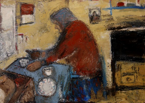 CHRISTINE THERY ~ A Cup of Barry's, some white pan & jam - oil on canvas - 70 x 100 cm - SOLD