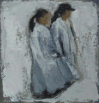CHRISTINE THERY - Cow Girls - oil on canvas - 20 x 25 cm - €410 - SOLD