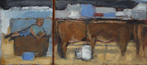 CHRISTINE THERY - Cowherd Resting - oil on canvas - 23 x 56 cm - €850