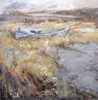 CHRISTINE THERY - Deserte Boat Series, Meadow Mud - oil on canvas - 76 x 76 cm - €2800
