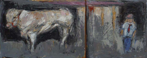 CHRISTINE THERY - The Red Tie- oil on canvas - diptych 25 x 61 cm - €1100