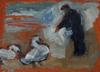 CHRISTINE THERY ~ Return of the Swans - oil on canvas on board - 13 x 18 cm - €275