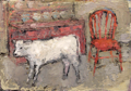 CHRISTINE THERY - Story of a calf - oil on canvas - 25 x 35 cm - €430