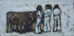 CHRISTINE THERY - Three Girls in White - oil on canvas - 25 x 51 cm - €560