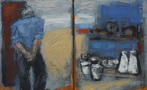 CHRISTINE THERY -Two Jugs and a Singer - oil on canvas - diptych 25 x 40 cm - €520