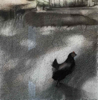 DIANA KINGSTON ~ Hen in Yard - charcoal & pastel on paper - 46 x 46 cm -  €450