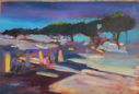 FIONA POWER - Night Market Antibes - acrylic on canvas board - 13 x 18 cm - €290