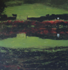 JANET MURRAN - The Green, Green Grass of Home - charcoal & acrylic on panel - 20 x 20 cm - €295