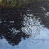 JANET Reflections on Floodwaters - charcoal & acrylic on panel - 20 x 20 cm - €295 - SOLD
