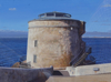JOHN DOHERTY ~ Martello Tower , Sutton, Dublin - acrylic on linen - 40 x 30 cm - NFS