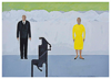 JULIE KELLEHER - Man in Suit, Woman in Yellow Dress - gouache & acrylic on paper - 41 x 51 cm - €550