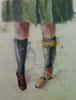 LESLEY COX - New School - oil on canvas paper - 46 x 35 cm - €300