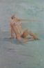 LESLEY COX - Nude I - oil on canvas paper - 46 x 35 cm - €200