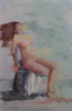 LESLEY COX - Nude IV - oil on canvas paper - 46 x 35 cm - €300