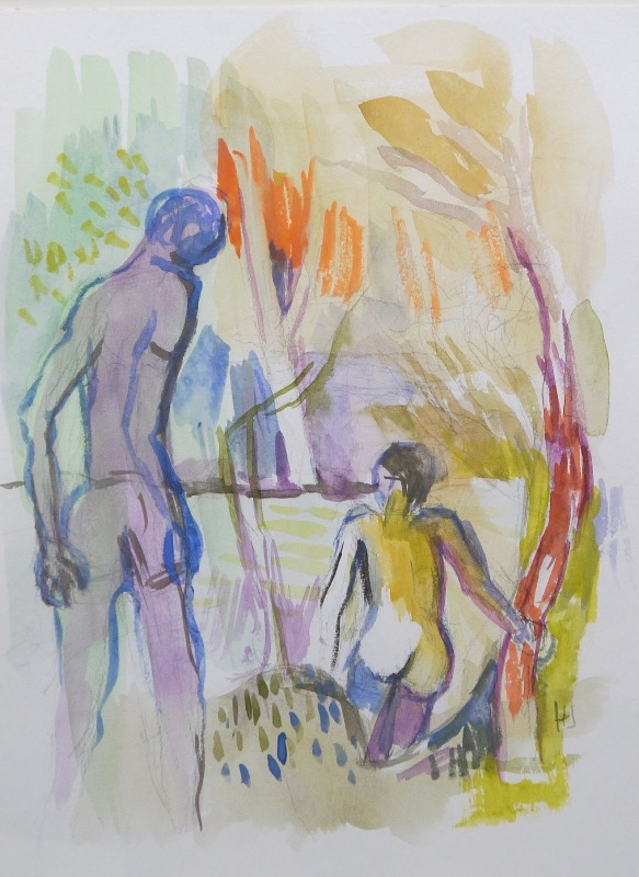 NIGEL JAMES - Bathers - watercolour on paper - €390
