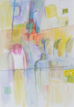NIGEL JAMES - Courtyard 1 - watercolour & crayon on paper - €360 - SOLD