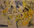 NIGEL JAMES ~ Fruit and Bowl - charcoal, acrylic wash & collage on paper - 40 x 61 cm - €750
