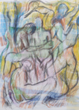 NIGEL JAMES - Naked Study - watercolour & crayon on paper - €390