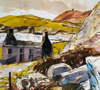 PATRICIA CARR ~ Ruin near Brow Head - watercolour, pen & ink - 60 x 70 cm - €550