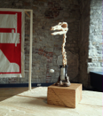 PETER NASH _ Tentative Steps  - carved wood & mixed media - €400 sculpture only - plinth and case €800