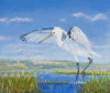 PETER WOLSTENHOLME - Spoonbills arrive in Timoleague - oil on canvas  - 50 x 60 cm - €1400